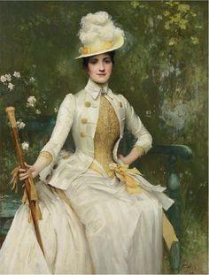Sir Samuel Luke Fildes - Portrait of Mrs Lockett Agnew 1887-88