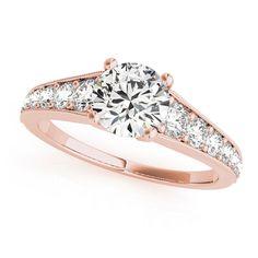 Transcendent Brilliance 14k White, Rose Or Yellow Gold 1 3/8ct TDW White Diamond Graduate Engagement Ring (F-G, VS1-VS2) (Rose - Size 9), Women's