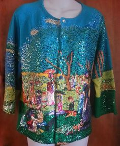 Michael Simon Sunday Afternoon French Impressionist Sequin Sweater Size L< #MichaelSimon #Cardigan