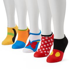 Slip your feet into the delightful style of these women's Disney socks. This set features the classic Fab Five of Mickey Mouse, Minnie Mouse, Goofy, Donald Duck and Pluto. Available from Kohl's. Di...