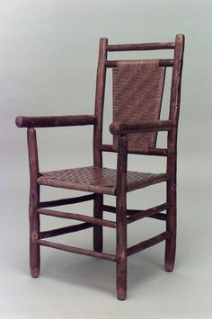 American Rustic Old Hickory open arm chair with woven seat & back and double stretcher on legs. (Columbus Hickory Furniture Co. Old Hickory Furniture, Hickory Chair, Dining Room Chair Cushions, Desk Chair, French Provincial Chair, Lodge Decor, Log Homes, Pink Chairs, Beach Chairs