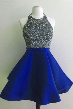 High Neck Royal Blue Open Back Short Homecoming Dresses Prom Dress Party Gowns LD347