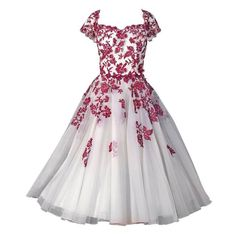 Red and white party dress.