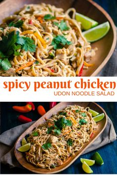 This Spicy Peanut Chicken Udon Noodle Salad uses rotisserie chicken and a quick spicy peanut sauce for a fast meal that's packed with flavor!