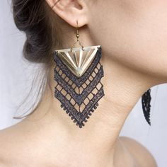 Lace earrings Chevron Black or white with bronze by thisilk