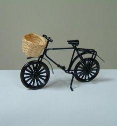Black Bike with Bamboo Basket