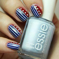 Pretty patriotic manicure nail art—fun look❣ (specifics @ link) • thenailpolishchallenge • Instagrin