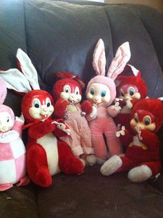 Vintage Gund an woolikin bunny rabbits. . Rubber Face plush stuffed animal by GoodMoodGirl, via Flickr