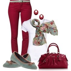 I like these colors together, but you'd have to have the scarf to pull it all together. RH