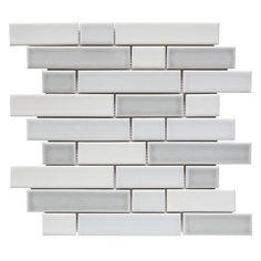 GBI Tile Stone Inc West Covina 10 Pack Whitewash Linear Mosaic Porcelain Wall