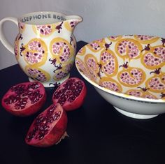 Emma Bridgewater Persephone 1.5 Pint Jug and Serving Bowl - Decorated with beautiful pomegranates
