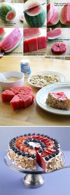 Red, White & Blue Watermelon Almond Tart recipe, MEMORIAL DAY treats #summer #bbq #dessert