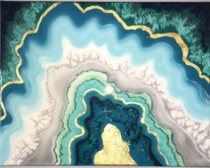 """ORIGINAL Abstract Acrylic Agate Stone Painting 11""""x14"""" 