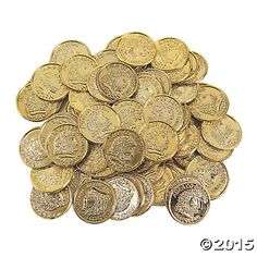 Shiny Gold Coins...about as cheap as spray painting rocks gold.