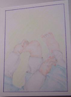 geboortekaartje, aquarelpotlood