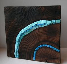 mosaic on stump | Bloc Wooden Stump Blue Art Sculpture1 Stumps as art furniture or ...