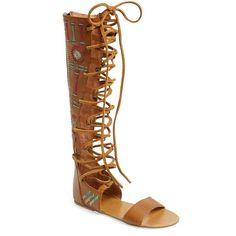 Free People 'Bellflower' Tall Gladiator Sandal (24.495 HUF) ❤ liked on Polyvore featuring shoes, sandals, tan combo, tan sandals, leather lace up sandals, gladiator sandals shoes, tan gladiator sandals and leather shoes