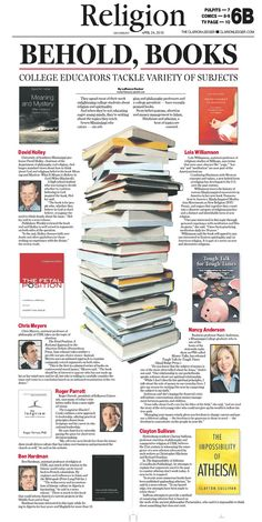 From The Clarion-Ledger in Jackson, MS. I arranged a stack of books as the dominant photo for this piece, and our photographers shot the picture. I also collected photos of all the professors mentioned in the story and their books, then handed the art over to our page designers who arranged it in this layout.