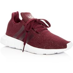 Adidas Women's Swift Run Knit Lace Up Sneakers ($90) ❤ liked on Polyvore featuring shoes, sneakers, maroon, lace up shoes, adidas shoes, adidas trainers, adidas and lacing sneakers