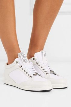 Jimmy Choo Miami Canvas-paneled Leather Sneakers