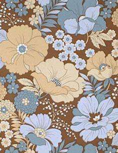 Gorgeous Blue 1970s Original Floral Wallpaper Vintage | Etsy