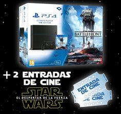PS4 1 TB + JUEGO STAR WARS: BATTLEFRONT + 2 ENTRADAS DE CINE - PLAYSTATION 4