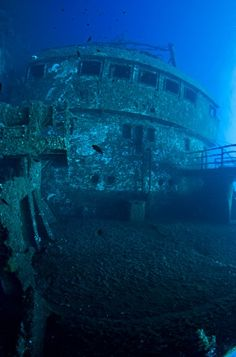 Scuba diving in Andros, Greece. Underwater Ruins, Underwater World, Andros Greece, Sunken City, Scuba Diving Equipment, Abandoned Ships, Ghost Ship, Deep Blue Sea, Graveyards