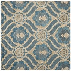 Living Room - Safavieh Contemporary Handmade Wyndham Blue New Zealand Wool Rug 6x9