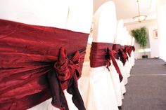 Burgundy Crinkle Chair Sashes #yyceventrentals www.greateventsrentals.com