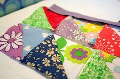 vintage fabric half square triangles
