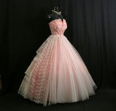 Vintage 1950's 50s Strapless Coral Peach by VintageVortex on Etsy