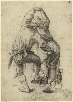 1525; Urs Graf (Swiss, about 1485 - 1527); Dancing Peasant Couple; Pen and gray and black ink; pricked for transfer (recto); Rubbed with black chalk (verso); 20.6 x 14.8 cm (8 1/8 x 5 13/16 in.); 92.GA.72; J. Paul Getty Museum, Los Angeles, California