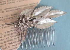 Silver Wedding Hair Comb Signed Vintage TRIFARI Brooch by ElmPlace, $48.00