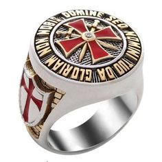 Handmade Knight Templar Masonic Ring White and Yellow Gold Plated Unique Design Knights Templar Symbols, Knights Templar Ring, Knight Shield, Knight Art, Silver Knight, Crusader Knight, Red Cross, Unique Rings, Etsy