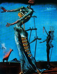 Salvador Dali  The Burning Giraffe 1937, oil on panel Located in Kunstmuseum Basel  (13.8 in × 10.6 in)  The use of colors and different hues of blue compliment each image in the painting. This makes the burning giraffe in the background truly pop.