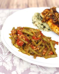 Creole Green Beans | Plain Chicken....a must try using fresh or canned green beans & stewed tomatoes....