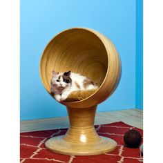 The Refined Feline Kitty Ball Bed in Bamboo...so fantastic.  I can imagine him slinking around in this.
