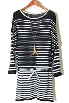 Black Long Sleeve Striped Drawstring Sweater Dress 0.00