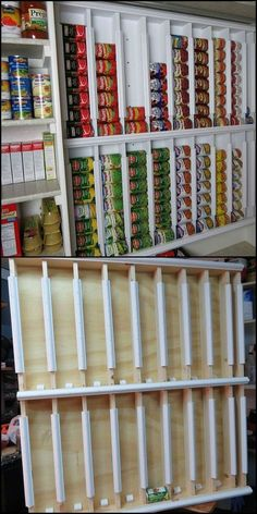 Getting organized/How To Build A Rotating Canned Food System http://theownerbuildernetwork.co/easy-diy-projects/diy-storage-projects/diy-rotating-canned-food-system/ If you need a great storage system for your pantry, then this project is for you! Could this be your next project to organize your pantry?