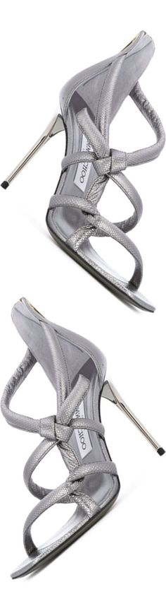 JIMMY CHOO 'Knot' Sandal in Silver Tone Leather