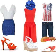 """Woman's Patriotic Outfit"" by singmcr on Polyvore.  The dress outfit would be SUPER cute for homecoming."