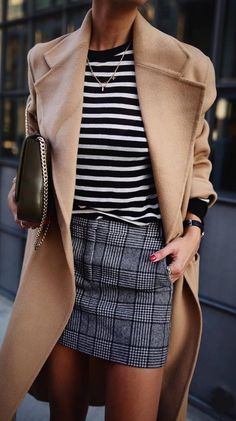 what to wear with a nude coat : stripped top + bag + plaid skirt