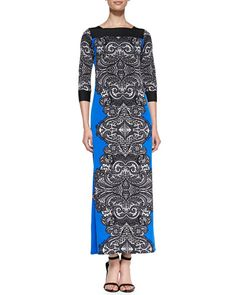 T8EMW Melissa Masse Print Jersey Lace-Border Long Dress