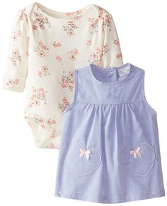 Amazon: Rene Rofe Baby Baby-Girls Newborn Heart and Floral Chambray Jumper with Bodysuit, Multi, 3-6 Months