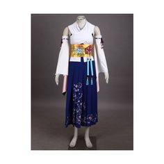 Custom-Made Halloween Final Fantasy 10 Yuna Cosplay Summon Costume... ❤ liked on Polyvore featuring costumes, womens halloween costumes, womens costumes, role play costumes, ladies halloween costumes and cosplay halloween costumes