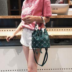 8046fd6f0834 Green Studded Bucket Handbags Faux Leather Bag with Scarf  bucketbag  bag   handbags