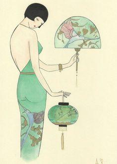 """dadawhoisdada:  """"Japonisme"""" Artwork by Madame Dabi https://www.etsy.com/it/shop/MadameDabi"""