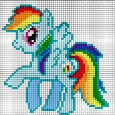 Rainbow Dash Sprite based on the art of the TV series My Little Pony. Made specifically for beadspriting and/or cross-stitching. Rainbow Dash, Crochet Pixel, Crochet Cross, Cross Stitching, Cross Stitch Embroidery, Cross Stitch Patterns, Pony Bead Patterns, Beading Patterns Free, My Little Pony Blanket