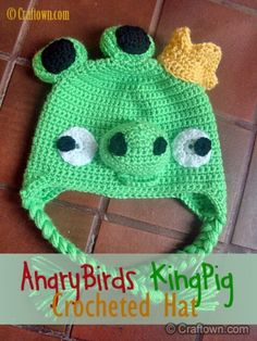 Free Crochet Pattern - Angry Birds Hat King Pig