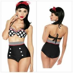 Cutest Retro Swimsuit Swimwear Vintage Pin Up High Waist Bikini Set SZ S/M/L/XL on Wanelo